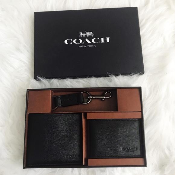 a5ea2886aaab0 NIB Coach 3 Piece Black Leather Wallet Gift Set